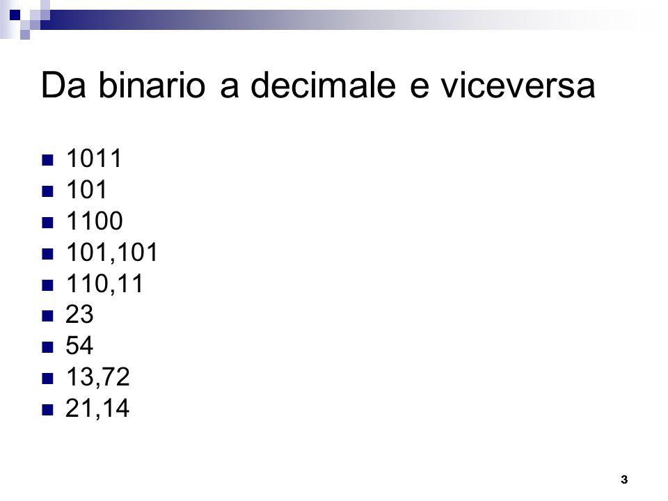 Da binario a decimale e viceversa