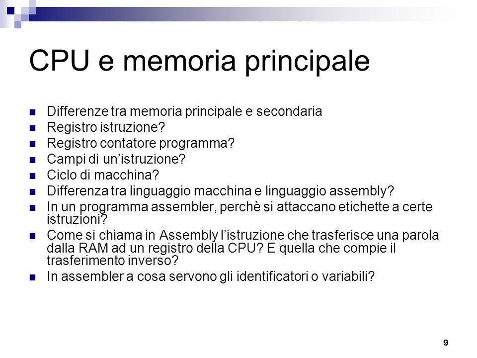 CPU e memoria principale