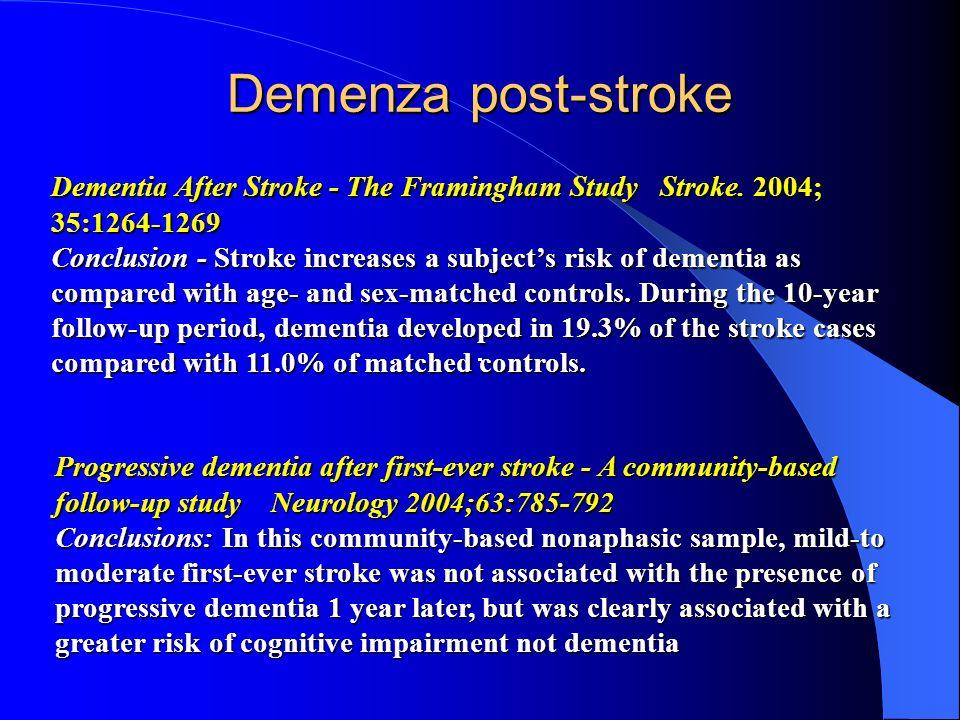 Demenza post-stroke Dementia After Stroke - The Framingham Study Stroke. 2004; 35:1264-1269.