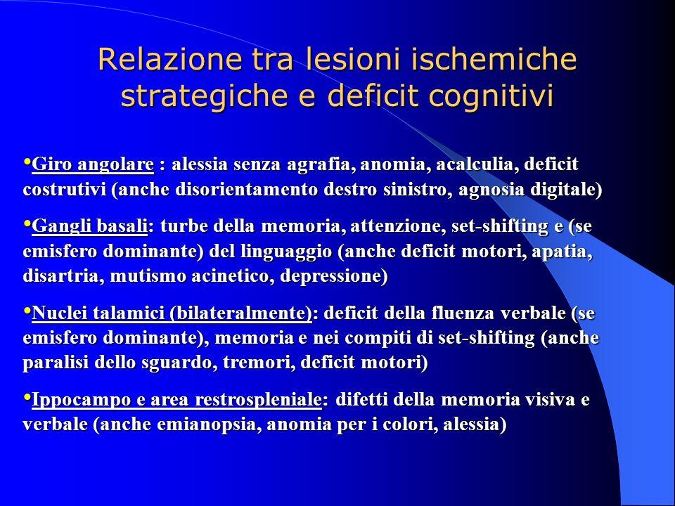 Relazione tra lesioni ischemiche strategiche e deficit cognitivi