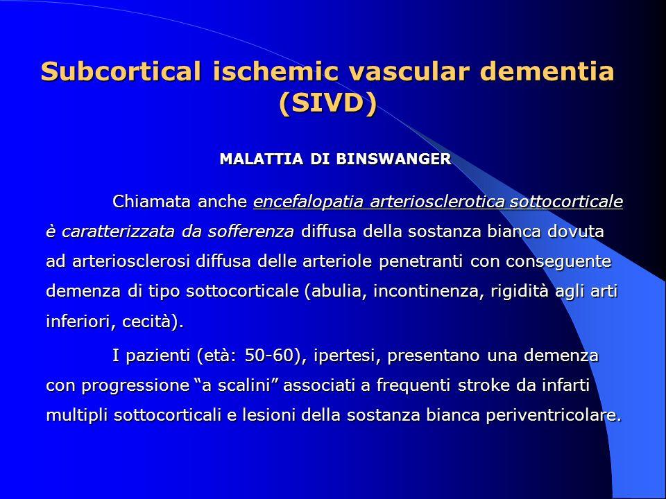Subcortical ischemic vascular dementia (SIVD) MALATTIA DI BINSWANGER