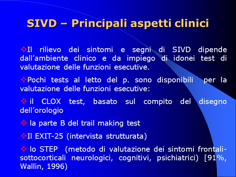 SIVD – Principali aspetti clinici