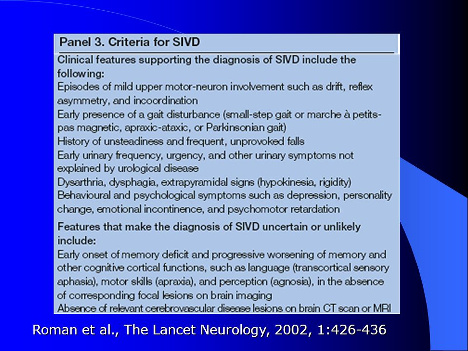 Roman et al., The Lancet Neurology, 2002, 1:426-436