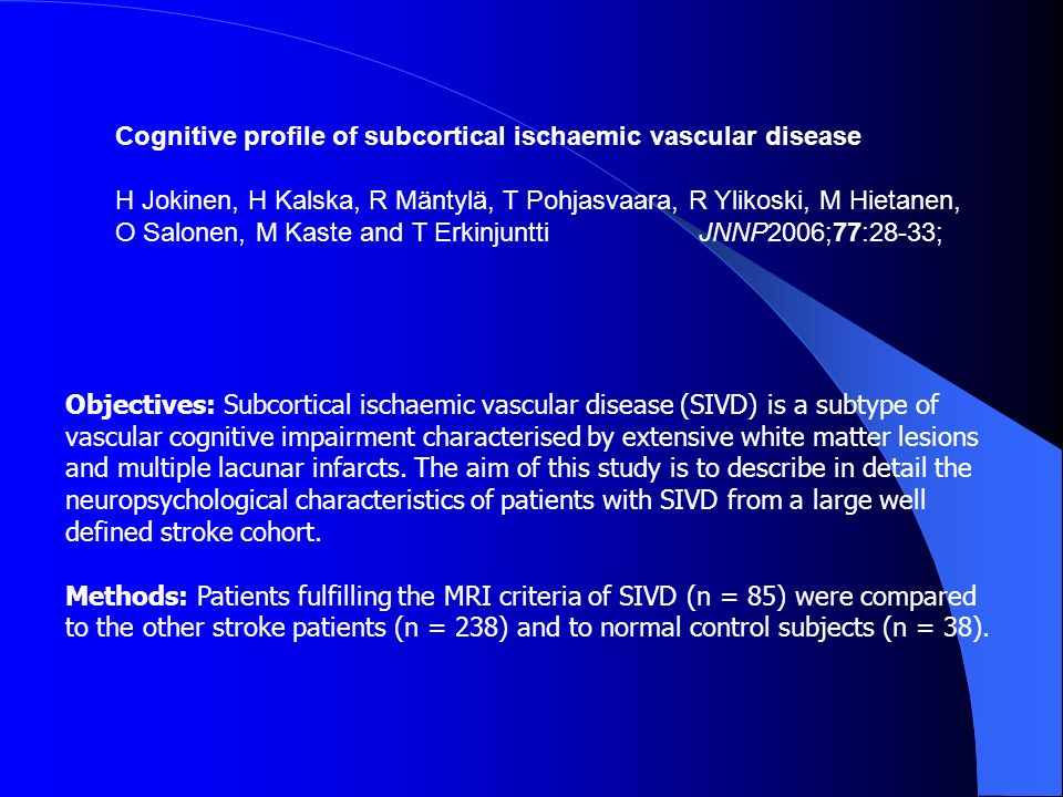 Cognitive profile of subcortical ischaemic vascular disease