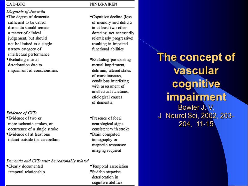 The concept of vascular cognitive impairment Bowler J