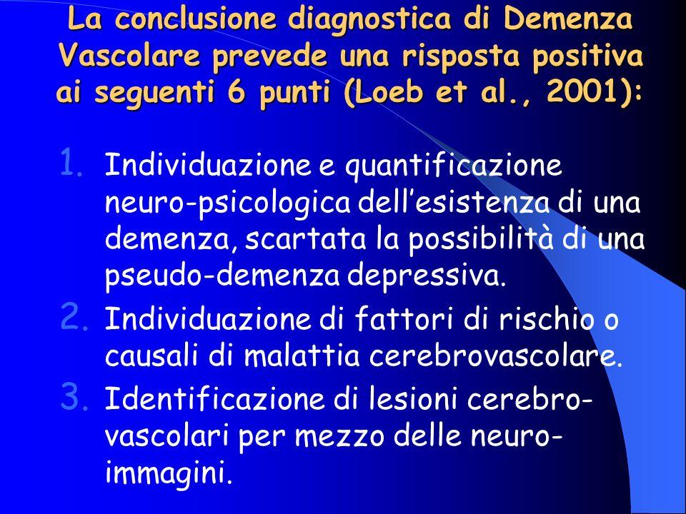 La conclusione diagnostica di Demenza Vascolare prevede una risposta positiva ai seguenti 6 punti (Loeb et al., 2001):