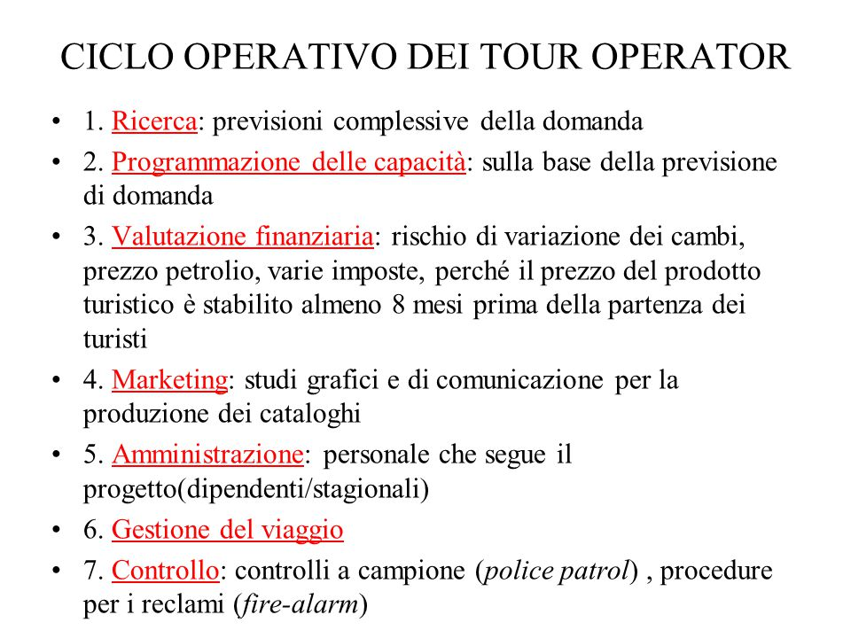 CICLO OPERATIVO DEI TOUR OPERATOR