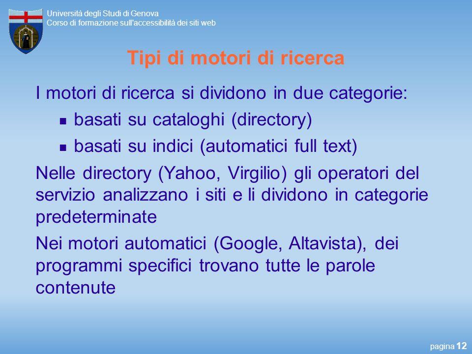 Tipi di motori di ricerca