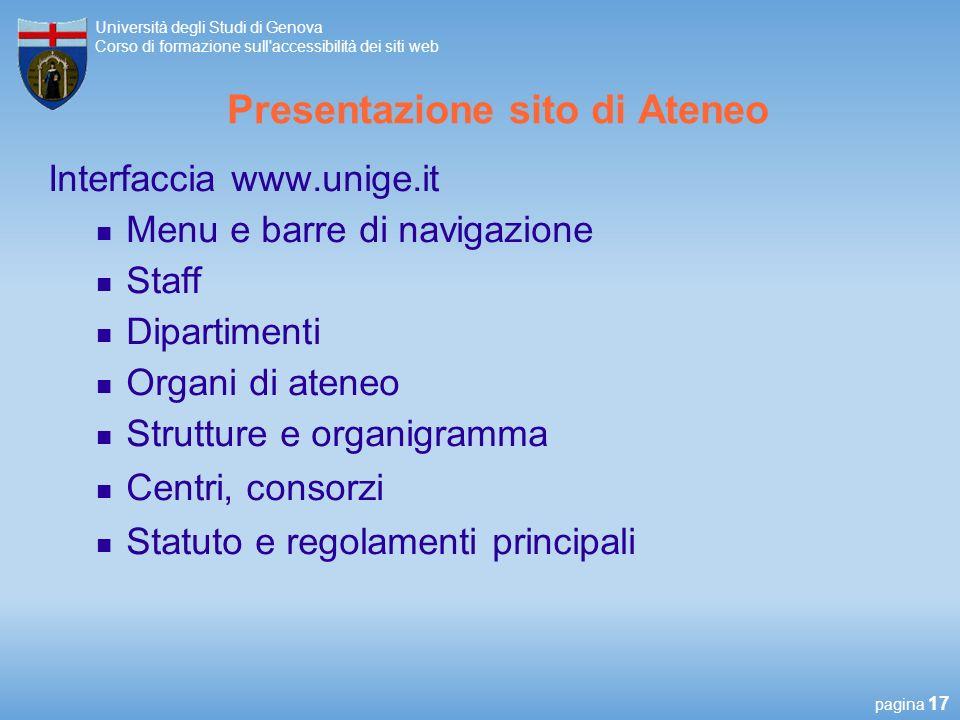 Presentazione sito di Ateneo