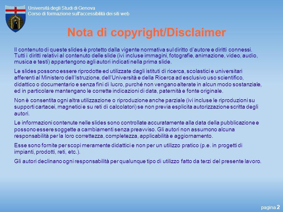 Nota di copyright/Disclaimer