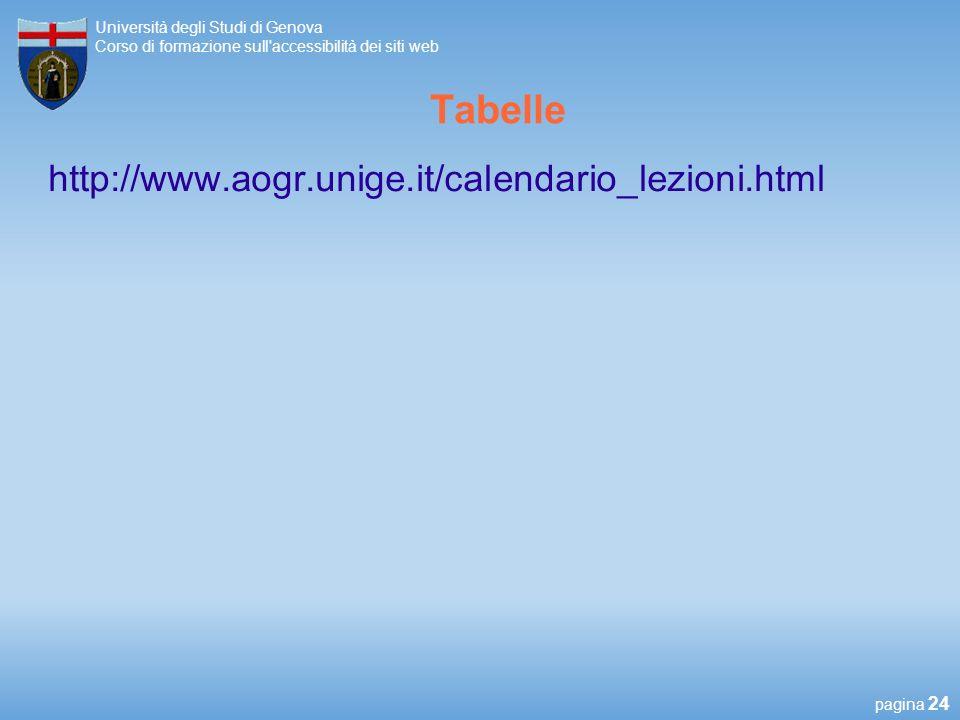 Tabelle http://www.aogr.unige.it/calendario_lezioni.html