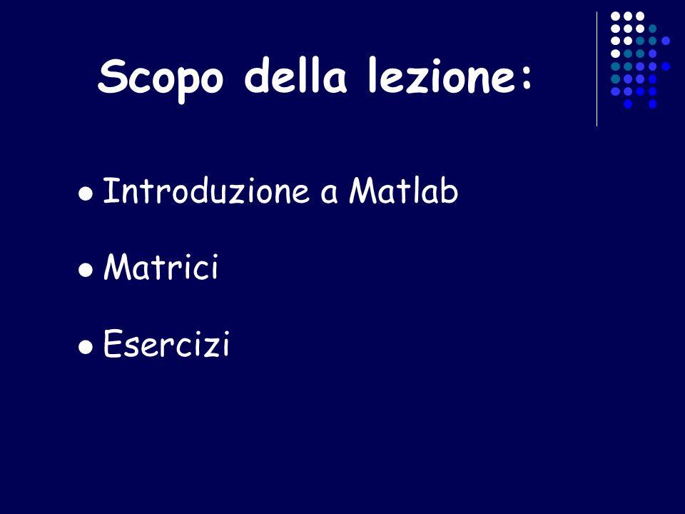 Scopo della lezione: Introduzione a Matlab Matrici Esercizi