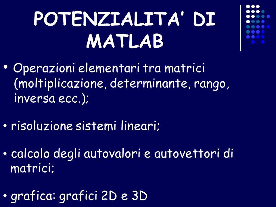 POTENZIALITA' DI MATLAB