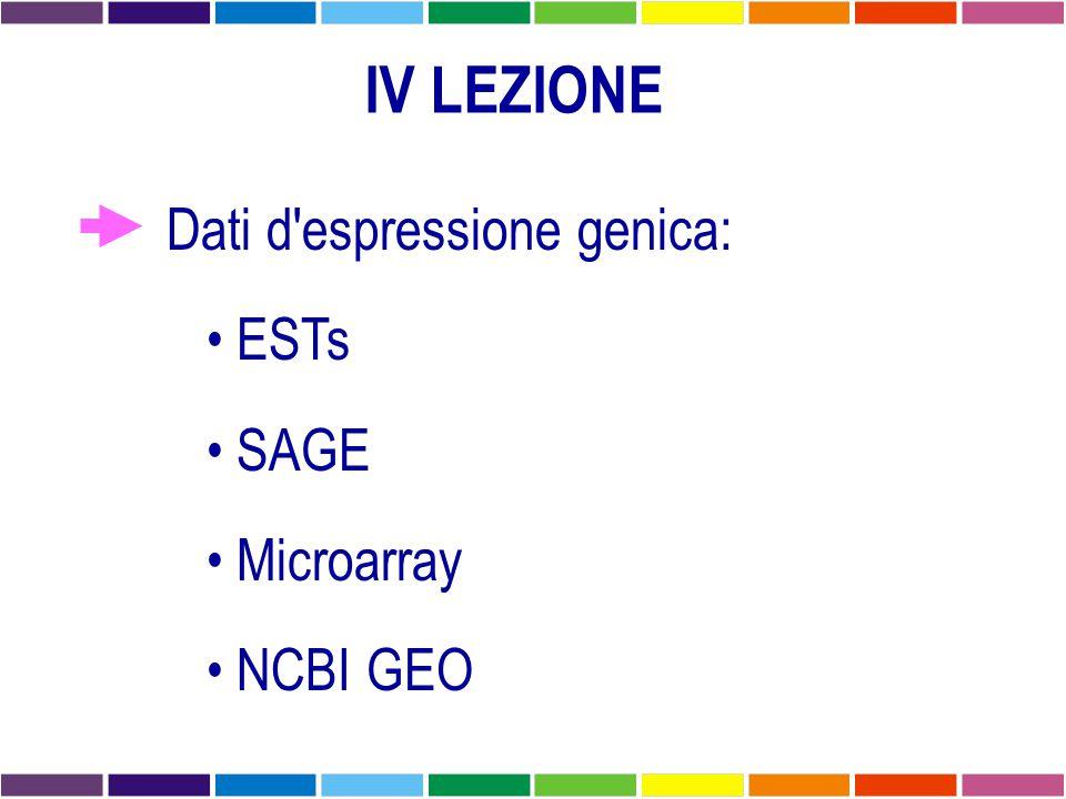 IV LEZIONE Dati d espressione genica: ESTs SAGE Microarray NCBI GEO