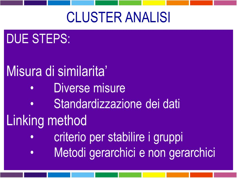 CLUSTER ANALISI Misura di similarita' Linking method DUE STEPS: