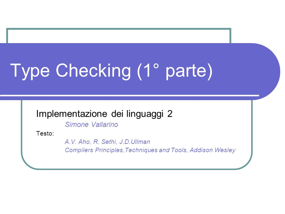 Type Checking (1° parte)
