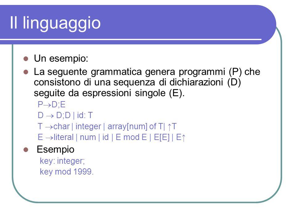 Il linguaggio Un esempio: