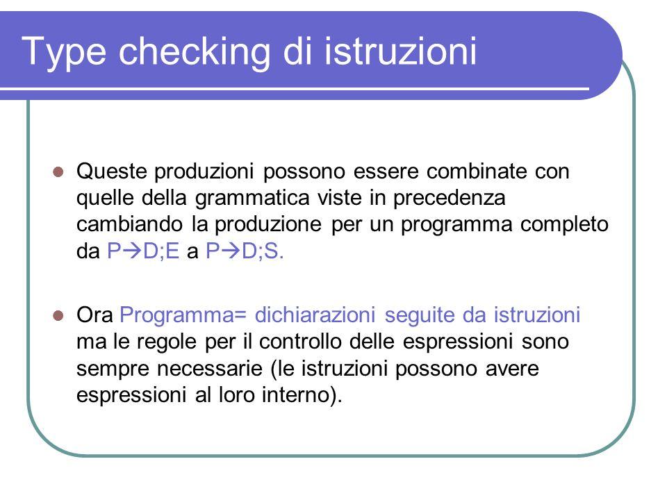 Type checking di istruzioni