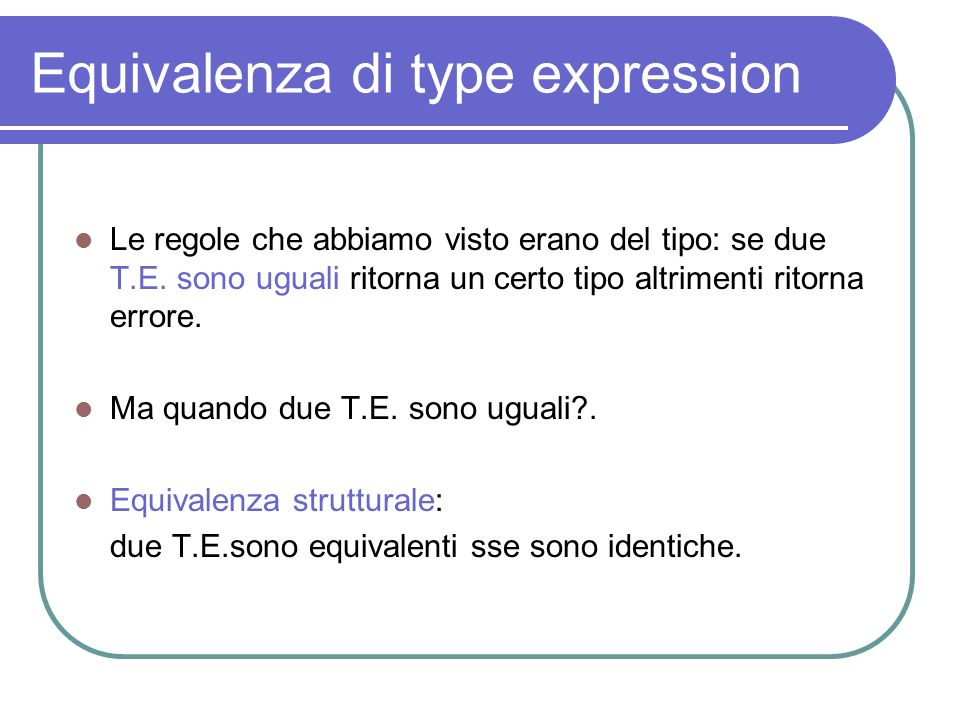 Equivalenza di type expression