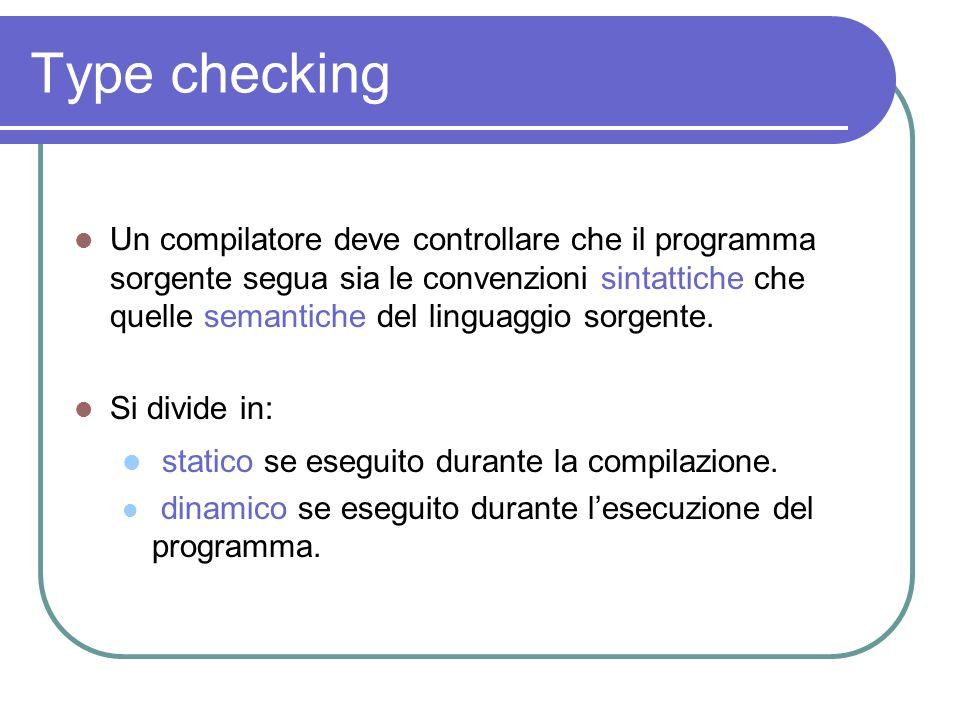 Type checking statico se eseguito durante la compilazione.