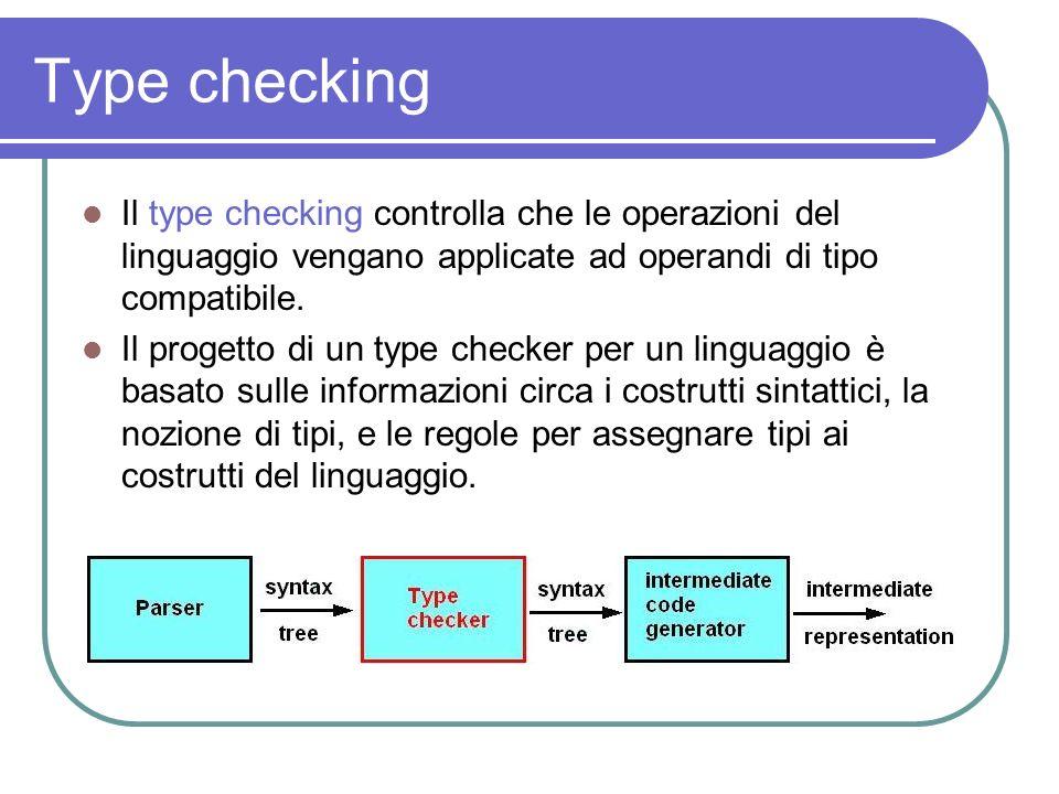 Type checking Il type checking controlla che le operazioni del linguaggio vengano applicate ad operandi di tipo compatibile.