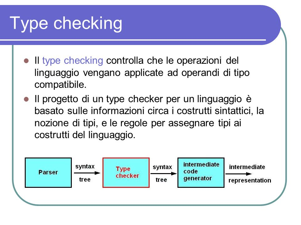 Type checkingIl type checking controlla che le operazioni del linguaggio vengano applicate ad operandi di tipo compatibile.