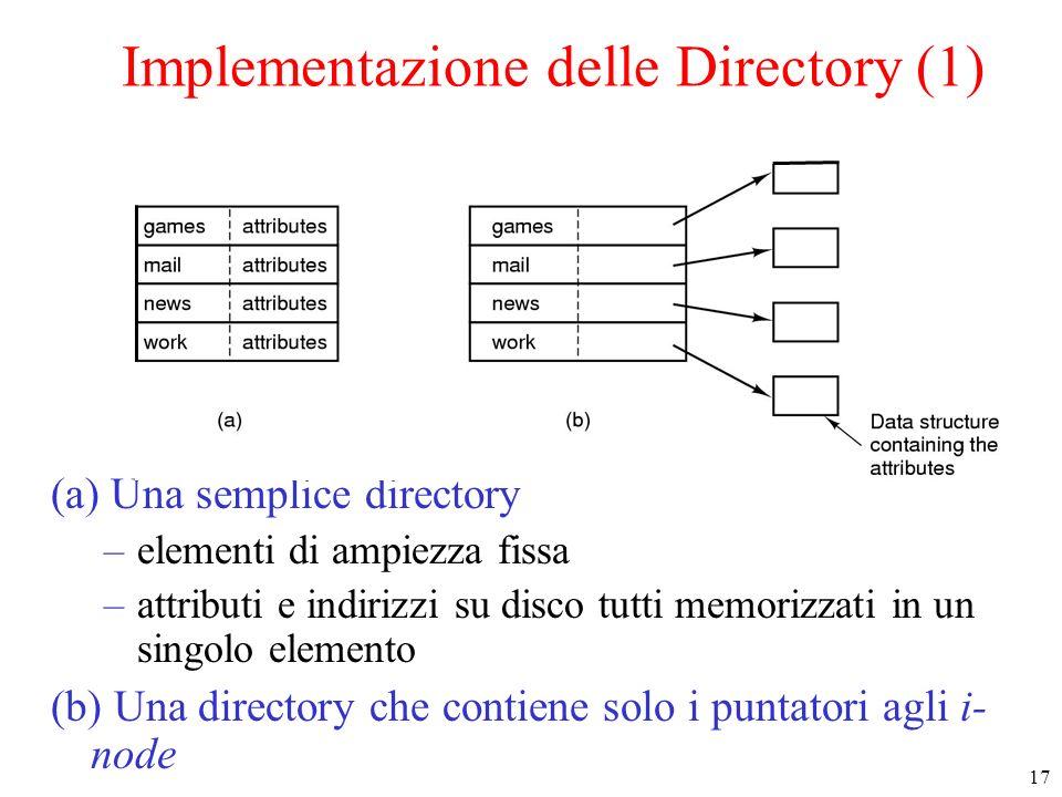 Implementazione delle Directory (1)