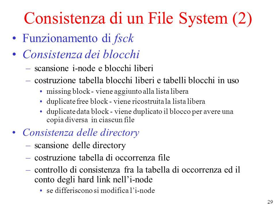 Consistenza di un File System (2)