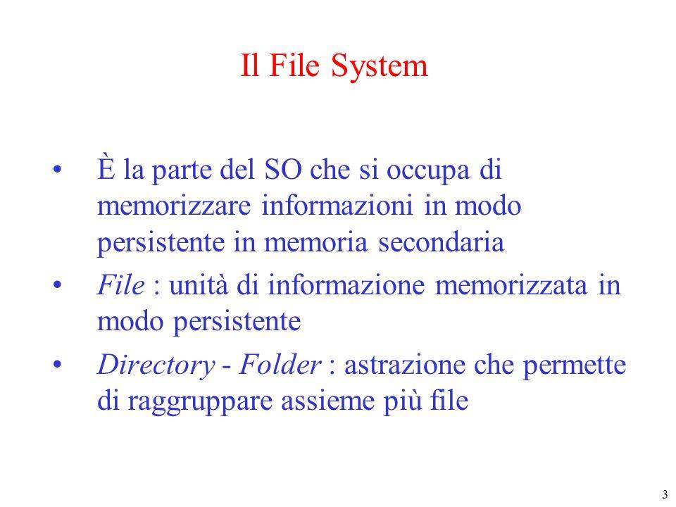 Il File System È la parte del SO che si occupa di memorizzare informazioni in modo persistente in memoria secondaria.