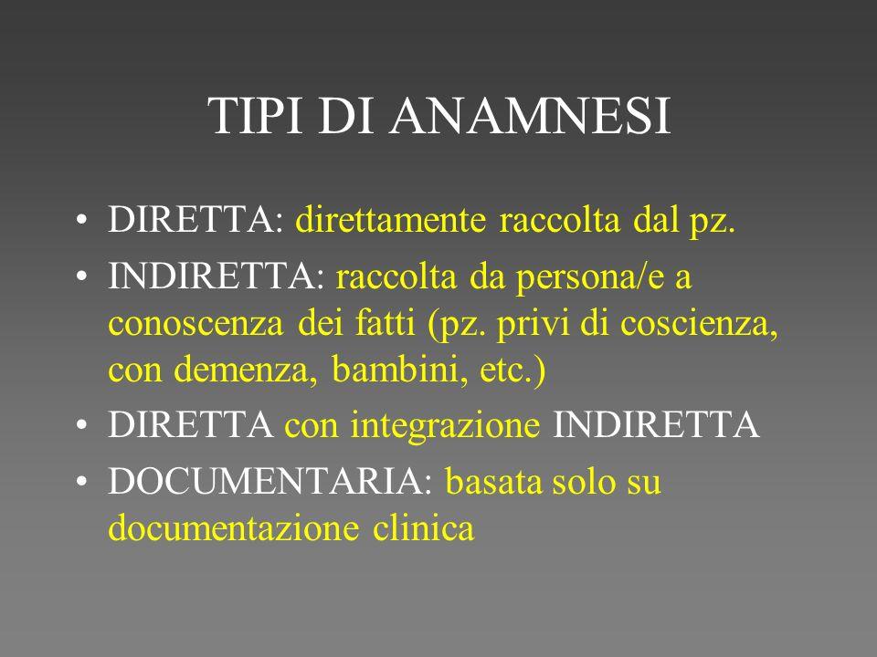 TIPI DI ANAMNESI DIRETTA: direttamente raccolta dal pz.
