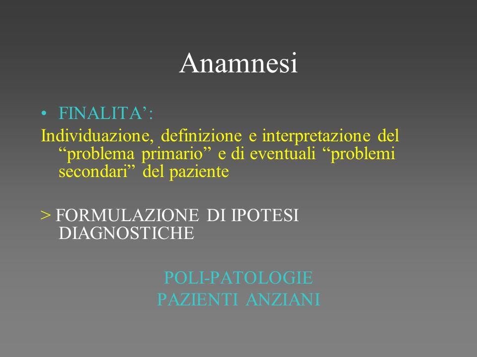 Anamnesi FINALITA': Individuazione, definizione e interpretazione del problema primario e di eventuali problemi secondari del paziente.