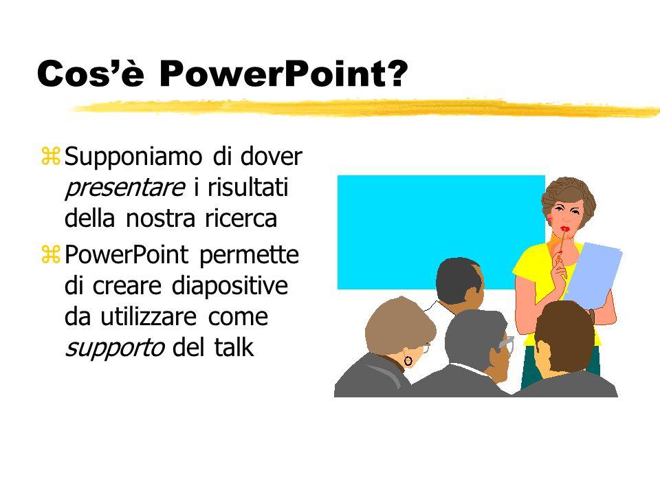 Cos'è PowerPoint Supponiamo di dover presentare i risultati della nostra ricerca.
