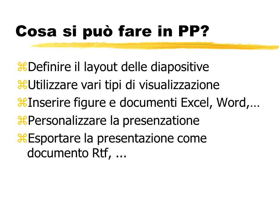 Cosa si può fare in PP Definire il layout delle diapositive