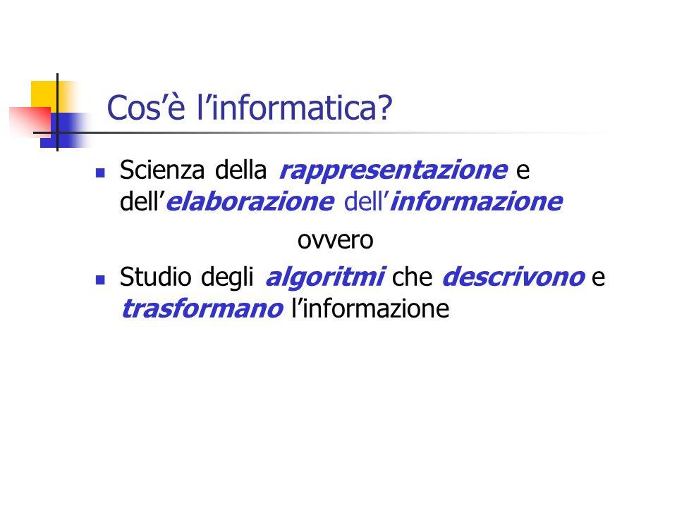 Cos'è l'informatica Scienza della rappresentazione e dell'elaborazione dell'informazione. ovvero.