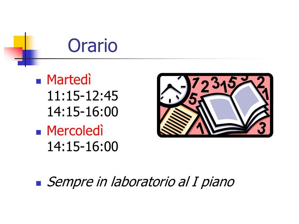Orario Martedì 11:15-12:45 14:15-16:00 Mercoledì 14:15-16:00
