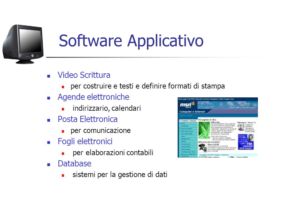 Software Applicativo Video Scrittura Agende elettroniche