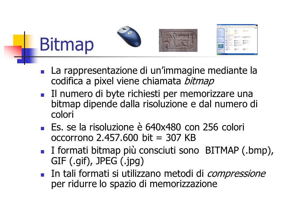 Bitmap La rappresentazione di un'immagine mediante la codifica a pixel viene chiamata bitmap.