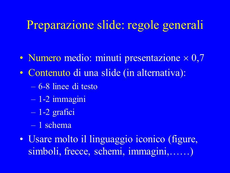 Preparazione slide: regole generali