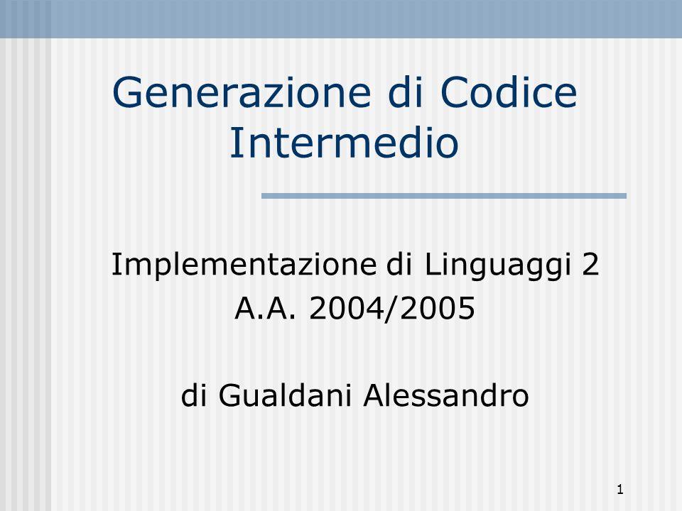 Generazione di Codice Intermedio