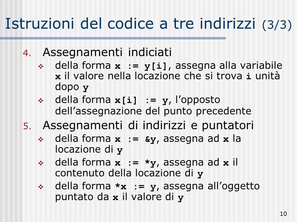Istruzioni del codice a tre indirizzi (3/3)