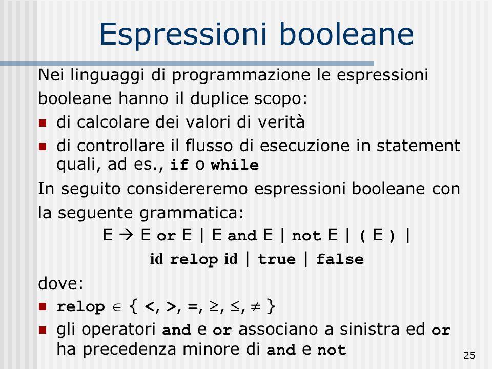 Espressioni booleane Nei linguaggi di programmazione le espressioni
