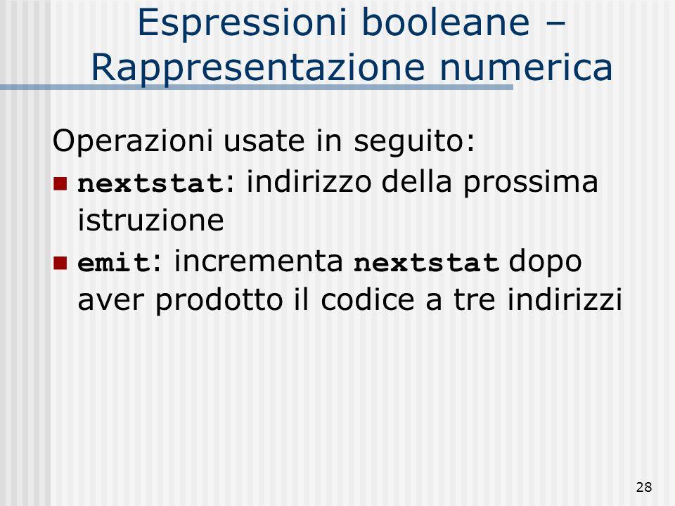 Espressioni booleane – Rappresentazione numerica