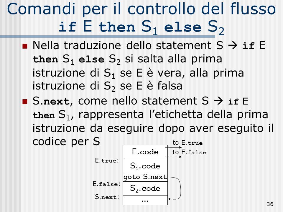 Comandi per il controllo del flusso if E then S1 else S2