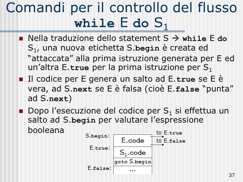 Comandi per il controllo del flusso while E do S1