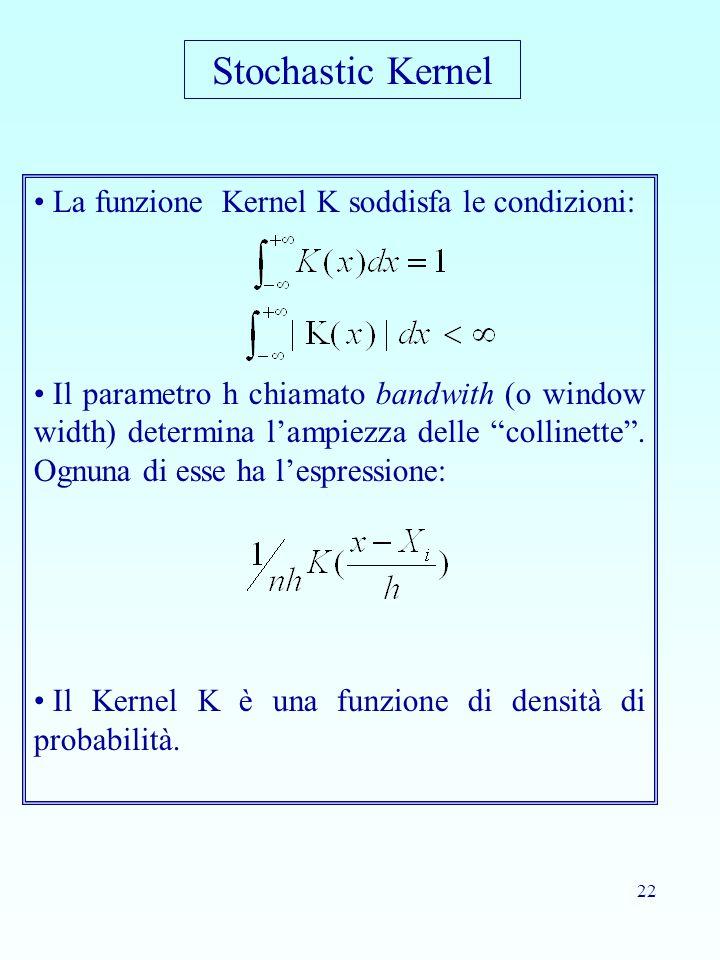 Stochastic Kernel La funzione Kernel K soddisfa le condizioni: