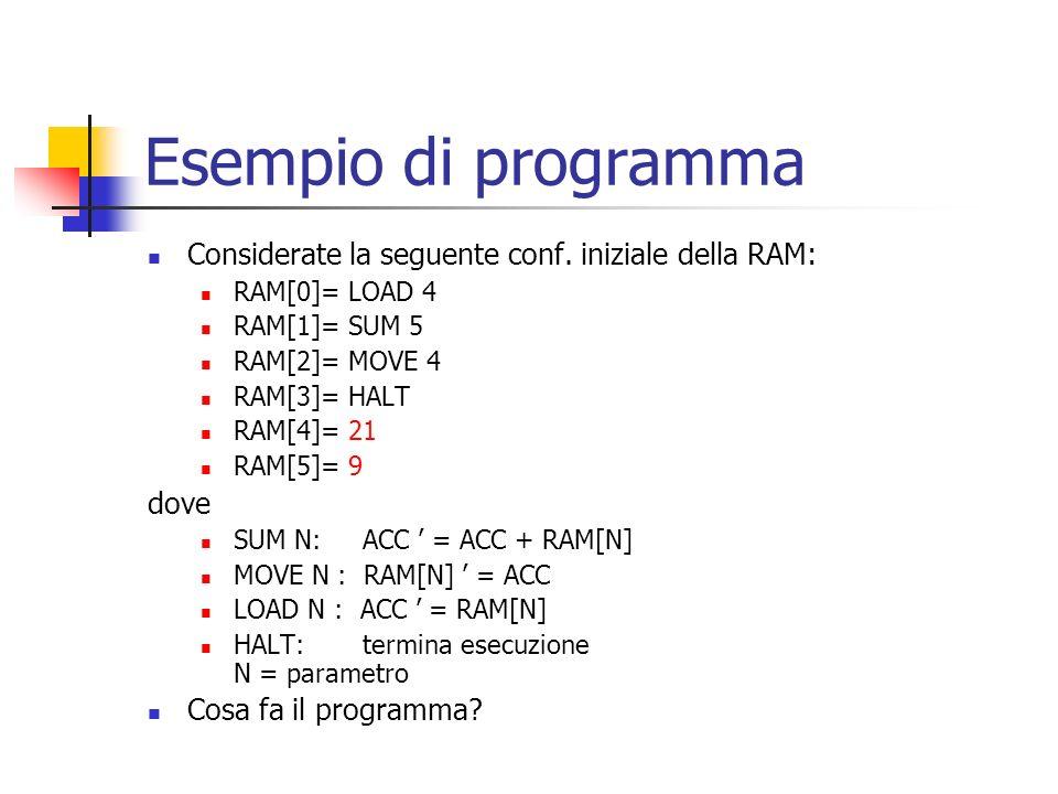 Esempio di programma Considerate la seguente conf. iniziale della RAM: