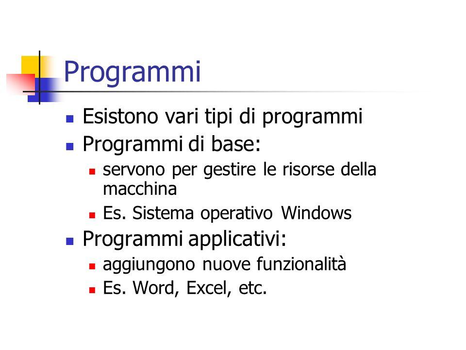 Programmi Esistono vari tipi di programmi Programmi di base: