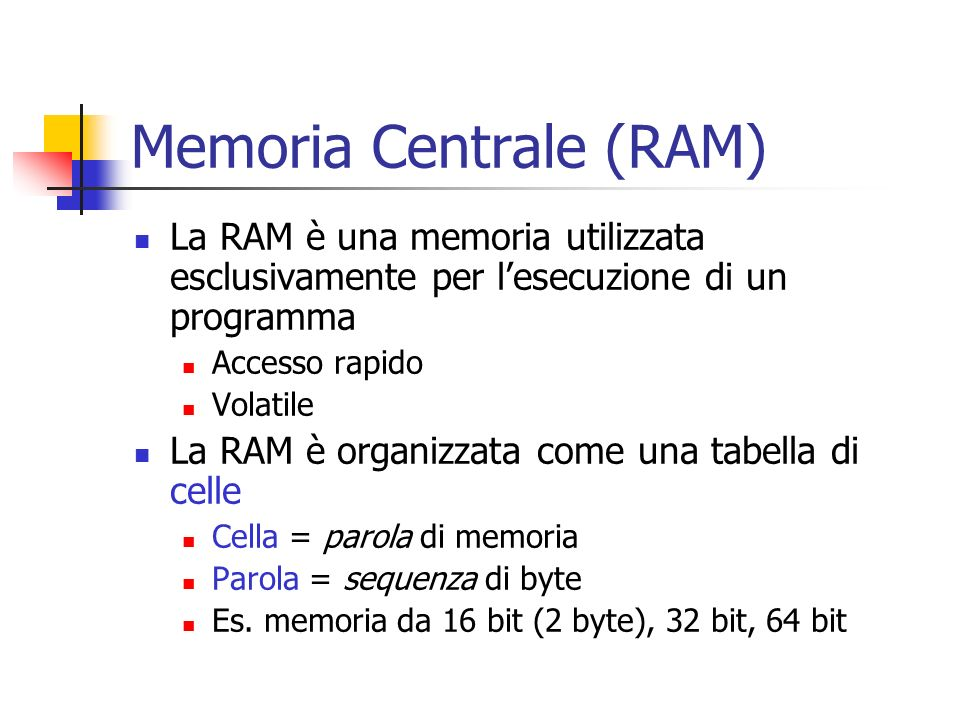 Memoria Centrale (RAM)