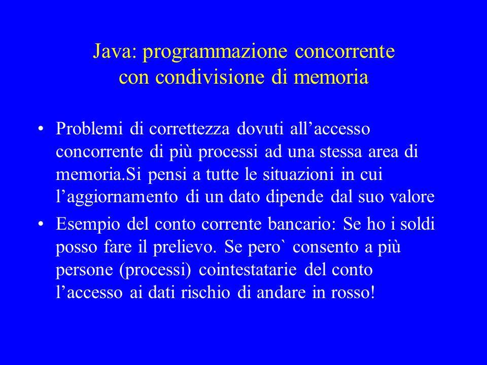 Java: programmazione concorrente con condivisione di memoria