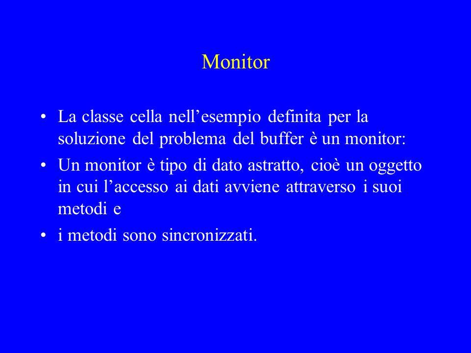 Monitor La classe cella nell'esempio definita per la soluzione del problema del buffer è un monitor: